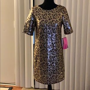 BETSEY JOHNSON Leopard Sequin Shift Dress